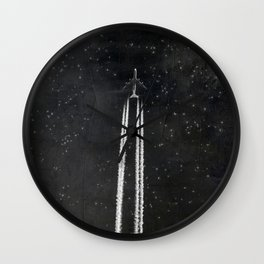 Star Flight - Airplane crossing a starry sky Wall Clock