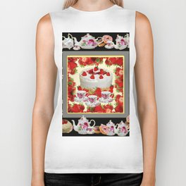 STRAWBERRY CAKE TEA PARTY TEA POTS COMPOSITION Biker Tank