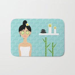 Cute Spa Woman In Blue Room With Candles Cartoon Illustration Bath Mat