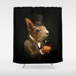 Sophisticated Pet -- Squirrel in Top Hat with glass of wine Shower Curtain