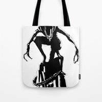 alien Tote Bags featuring Alien by Michelle Woodward