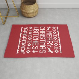 Merry Christmas Bitches Offensive Quote Rug