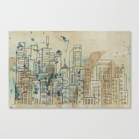 Sketch of buildings in a city that doesn't exist Canvas Print