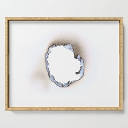 Hole burnt in a sheet of paper Serving Tray