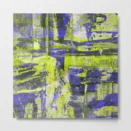 Abstract 18 - Study In Blue And Yellow Metal Print