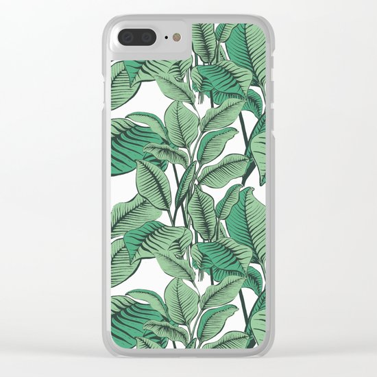 Exotic Tropical Banana Palm Leaf Print Clear iPhone Case