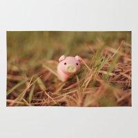 pig Area & Throw Rugs featuring Pig by Natália Viana ♥