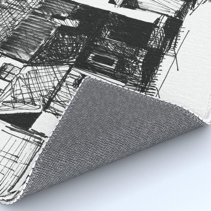 ARCHITECTURE PEN & INK DRAWING Rug by milenagawlik