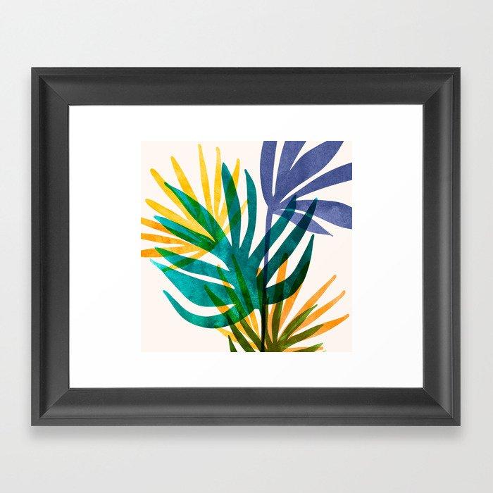 Bright Modern Tropical Greenery II Framed Art Print