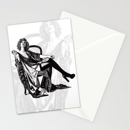 Retro Woman Wearing Vintage Lingerie and Drinking from Flask Stationery Cards