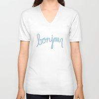 bonjour V-neck T-shirts featuring Bonjour by radiantlee