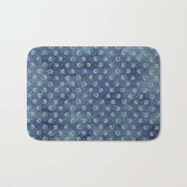 Amazing Watercolor Snowflakes Pattern on the dark blue background Bath Mat
