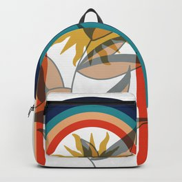 Abstract contemporary aesthetic poster with sun plant and geometric retro 70s rainbow boho wall art Backpack