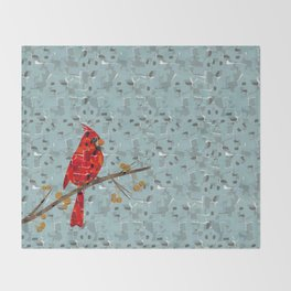 Red Cardinal Collage Throw Blanket