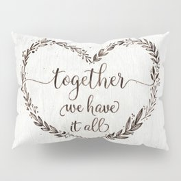 Love message in heart on old white wood texture Pillow Sham
