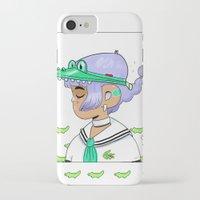 crocodile iPhone & iPod Cases featuring Crocodile by Natali Koromoto