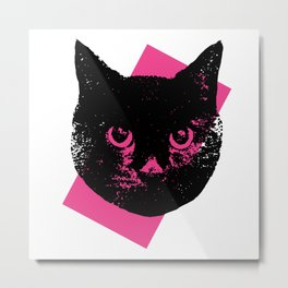 Black Cat, Color Block Pink Metal Print