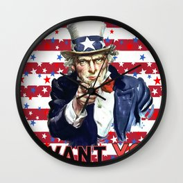 Uncle Sam I Want You With Stars and Stripes Background Wall Clock