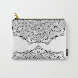 Lacy Flames Mandala in Black and White Carry-All Pouch