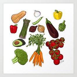 Bright Vegetable Pattern Art Print
