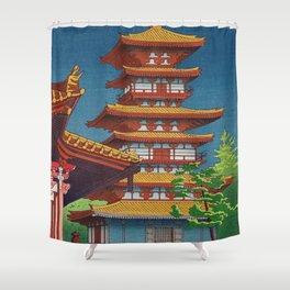 Japanese Woodblock Print Vintage Asian Art Colorful woodblock prints Pagoda Shinto Shrine Shower Curtain