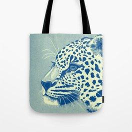 Leopard Turquoise feline glance Tote Bag
