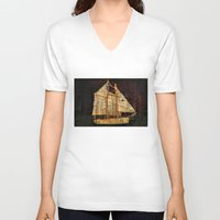 sailboat V-neck T-shirts featuring Rustic Sailboat by Michael Moriarty Photography