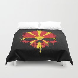 Flag of Macedonia on a Chaotic Splatter Skull Duvet Cover