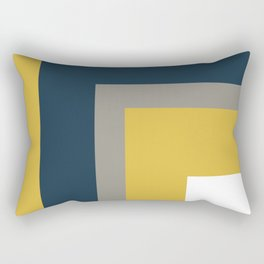 Half Frame Minimalist Pattern in Deep Mustard Yellow, Navy Blue, Gray, and White Rectangular Pillow