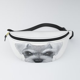 Schnauzer Grey&white, Dog illustration original painting print Fanny Pack