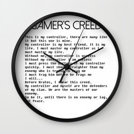 Gamer's Creed Console Gamer Controller Version Black Wall Clock