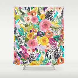 Vibrant Autumn Floral with Turquoise Shower Curtain