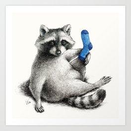 Yoga Raccoon Art Print