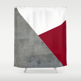 Concrete Burgundy Red White Shower Curtain