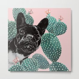 French Bulldog and Cactus Pink Metal Print