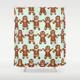 Gingerbread Men – Mint Palette Shower Curtain