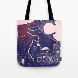 New Orleans, LA, USA, Blue, White, City, Map Tote Bag