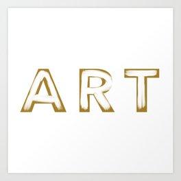 Minimalist Art Gold & White Brush Strokes Art Print