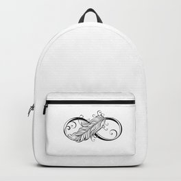 Infinity Symbol with Feather Backpack