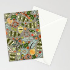 vintage christmas silver Stationery Cards
