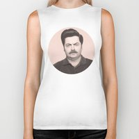 ron swanson Biker Tanks featuring Ron Swanson by Alexia Rose
