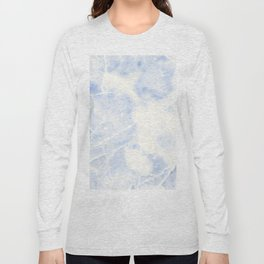 Blue and White Marble Waves Long Sleeve T-shirt