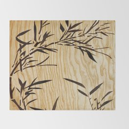 Japanese bamboo buddha wood art Throw Blanket