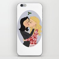 swan queen iPhone & iPod Skins featuring Christmas with Swan Queen!  by Yael's Colors