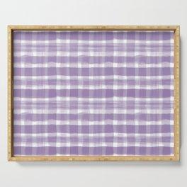 Watercolor Brushstroke Plaid Pattern Pantone Chive Blossom Purple 18-3634 on White Serving Tray