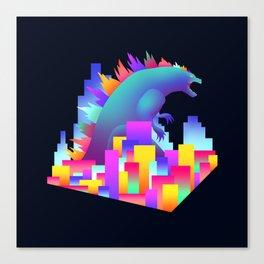 Neon city Godzilla Canvas Print