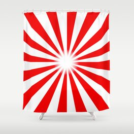 Red And White Bright Ray Background Shower Curtain