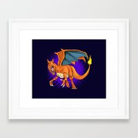 charizard Framed Art Prints featuring Charizard by Aliece Carney