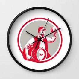 American Worker Keg Toast Beer Mug Circle Retro Wall Clock