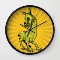great dane Wall Clocks featuring Great Dane by wahyudi77